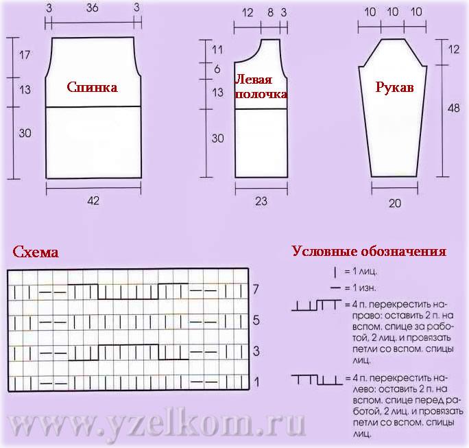 Схема вязания жакет спицами.
