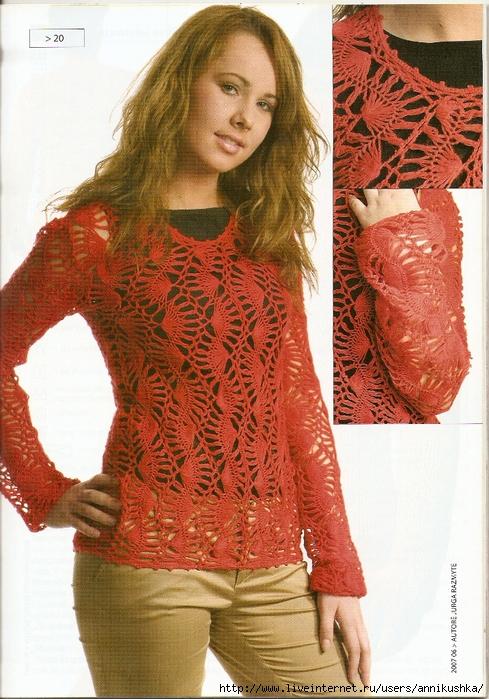 Вязание на вилке пуловер 310
