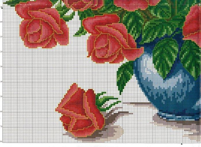 Подробные схемы вышивки крестом розы 91