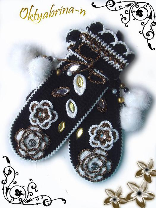 Идеи для вязания варежек крючком. jasmiinka.  Написано.