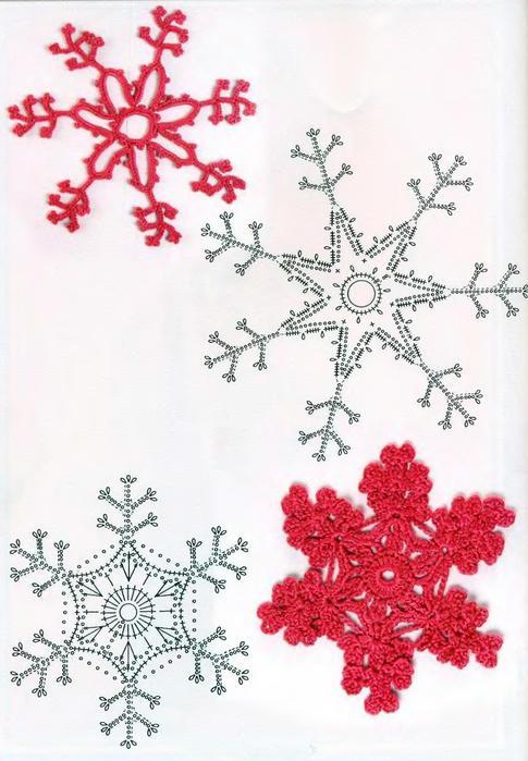 вязаные снежинки со схемами.