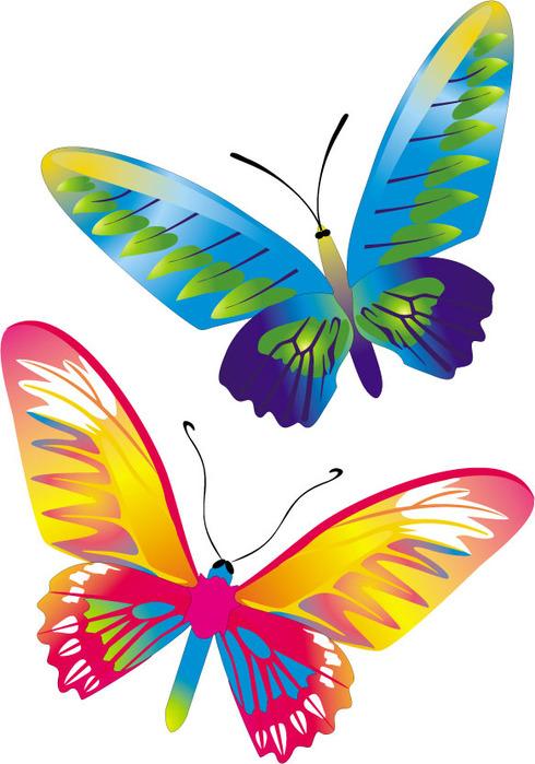 Красочные бабочки в векторе для создания бесшовных текстур.
