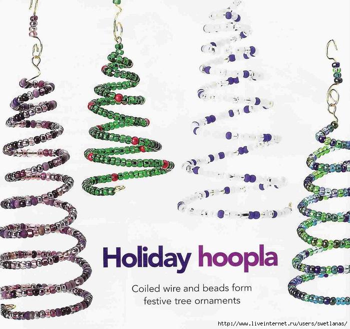 Удивительно простые и симпатичные елки из проволоки и разноцветного бисера.  Огромное разнообразие расцветок и...