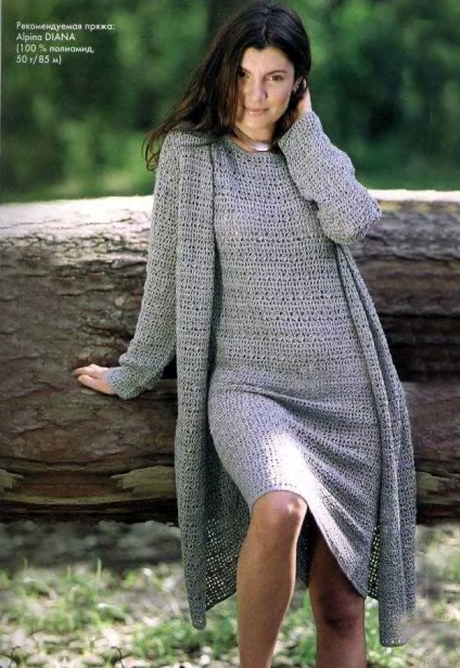 Вязание крючком: Кардиган и платье.