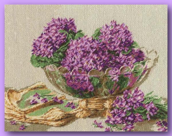 """Наборы для вышивания крестом Купить  """"Фиалки """" от Goblenset - Цветы."""