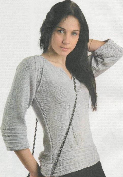 Серый пуловер на спицах с рукавами реглан.  Узоры для вязания пуловера.