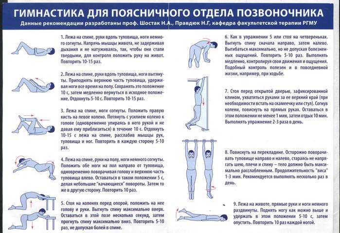 Упражнения боли в спине поясничный отдел