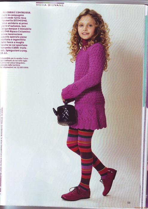 Детское платье связано спицами на девочку 8 и 10 лет ажурными узорами.  Особенно хорошо дополняет платье узор...