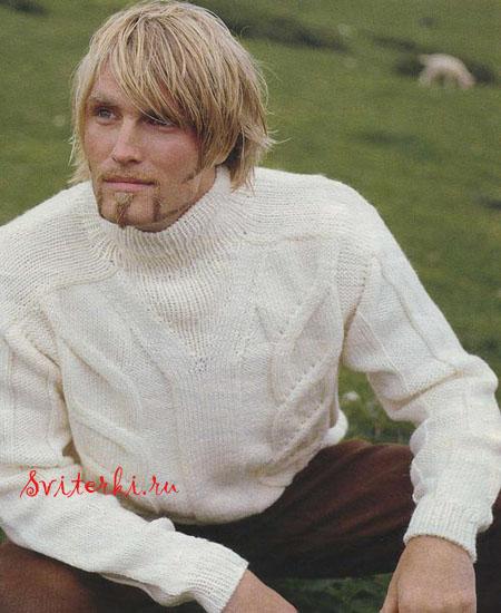 Рвитеры Вязаный мужской свитер спицами и крючком для мужчин, вязание...