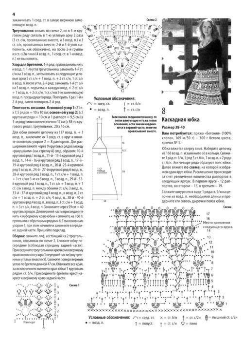Схема вязания каскад
