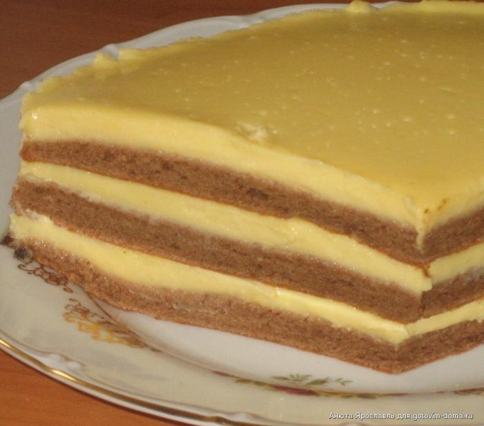 Торт сахара с заварным кремом