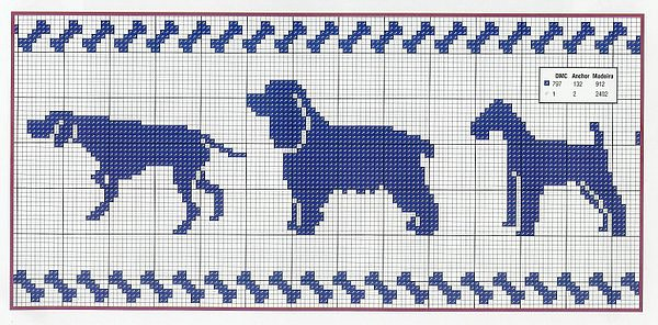 Вышивка собака схема монохром
