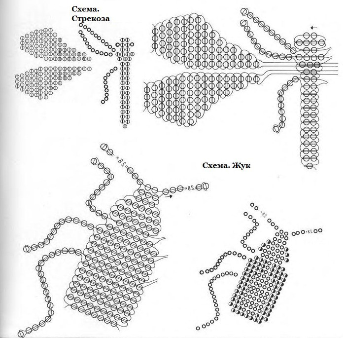 13 апр 2010 Схема бисероплетения стрекозы, жука и паука. из бисера, жук из бисера, паук из бисера, брошь насекомое...