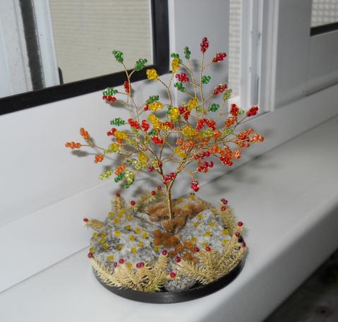 В архиве книга по плетению деревьев из бисера, а также несколько схем и идей (есть новогодняя ёлочка, яблоня.