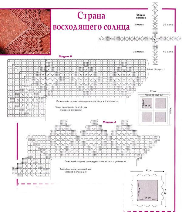 Обвязка скатерти и салфеток (схема) .