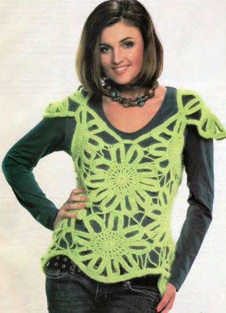Салатовый жилет - Вязание для женщин Увлекательная модель жилета связана крючком из отдельных элеменов...