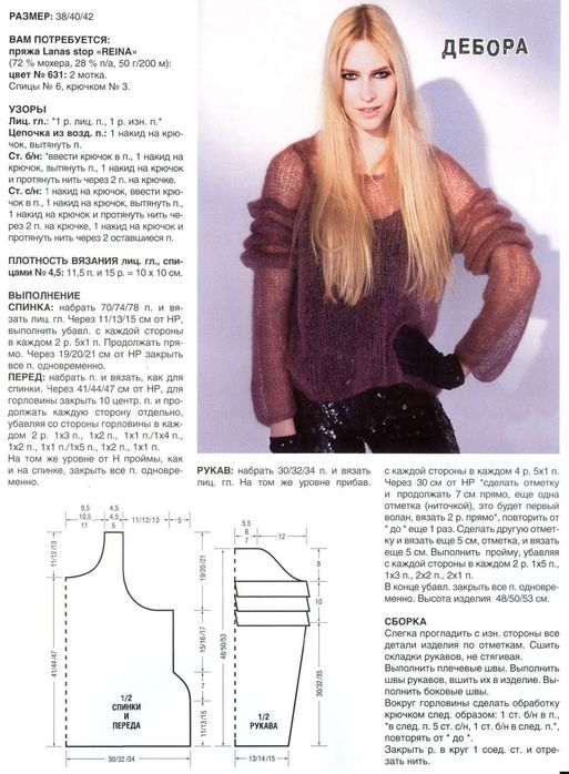 Схема вязание свитера тонкий мохер