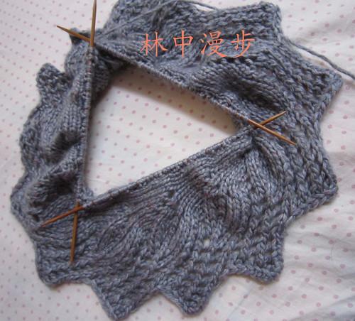 """вязаная манишка с листиками.  Рубрика: Вязание  """" Вязание."""
