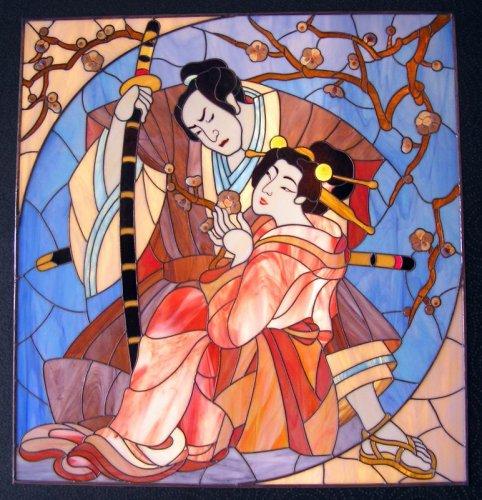 """Оригинал схемы вышивки  """"самурай и геиша """" ."""