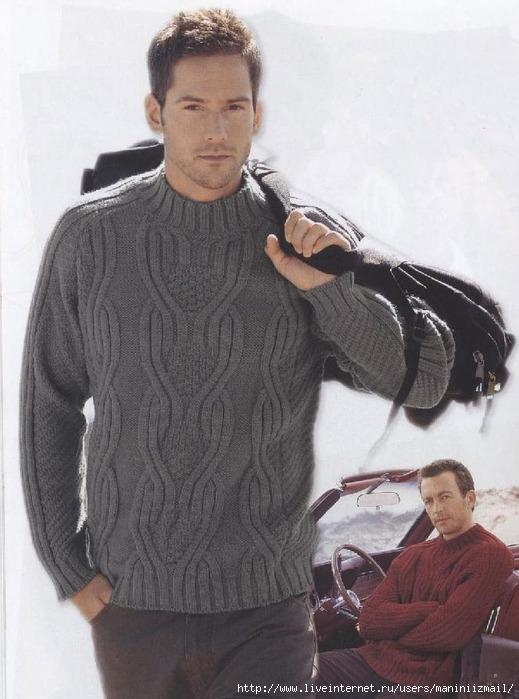 Вязаный мужской пуловер. свой цитатник или сообщество! http://www.shemyvyazaniya.com/page/pulover-06-m...