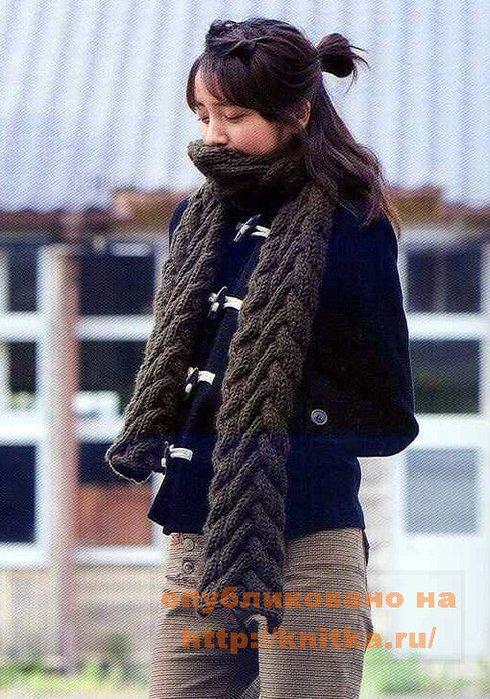 вязание крючком шарфа и беретта.