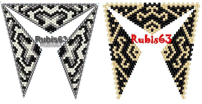 треугольные кулоны из бисера.