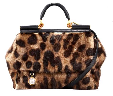 Сумка с мехом под леопарда Dolce & Gabbana.