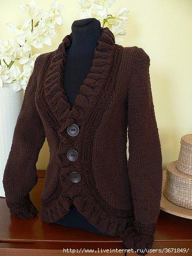 Великолепный и простой жакет в стиле Шанель.  Вязание на спицах Knitting.