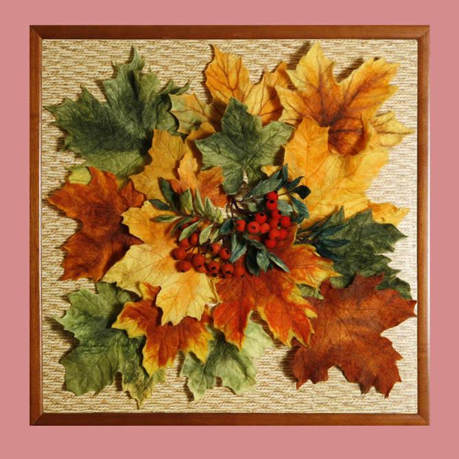 Панно своими руками на тему осень из природного материала 342