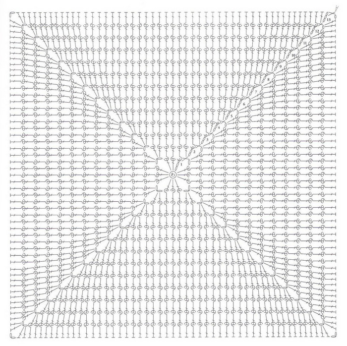 钩针花样600图解 坐垫