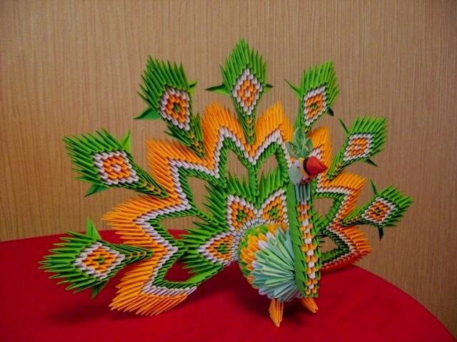 модульное оригами павлин схема сборки.