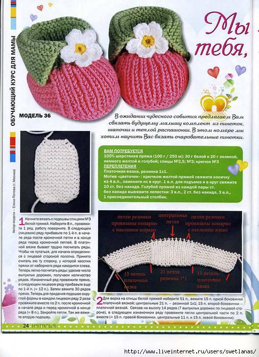 Вязание крючком для начинающих тапочки пинетки