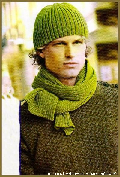 Мужские шарф и шапка связать спицами.