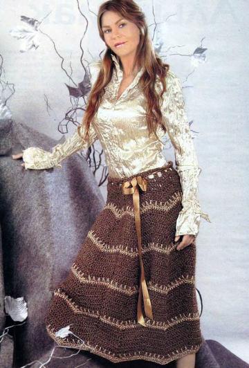 Вязаная длинная юбка крючком 2