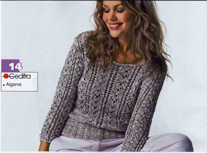ажурный свитер спицами схема.