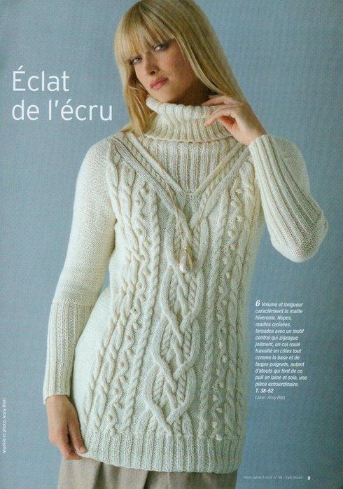 Пуловер, связанный спицами.  Модели. узор косичка спицами.