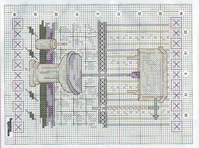 Схема для вышивки на дверь туалета