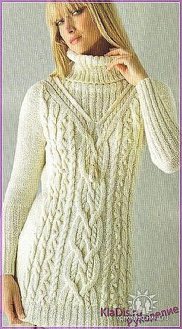 10. Белое платье вязаное спицами.