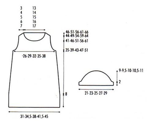 Схема вязания ковточки с открытыми плечами.