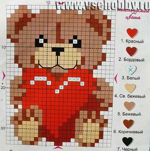 Скачать бесплатно схему вышивки с медведями