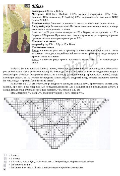 Вязание спицами шали схема и описание 71