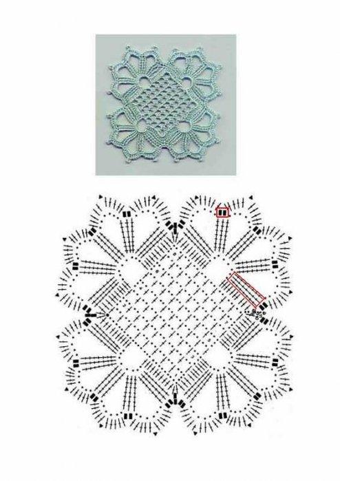 схема вязания салфетки крючком для начинающих.