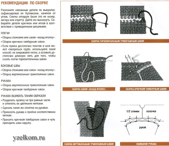 Как сшивать плечевые швы при вязании спицами