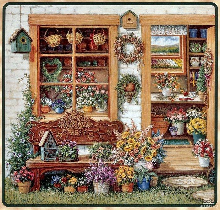 """Схема вышивки  """"Садовые домики """" ."""