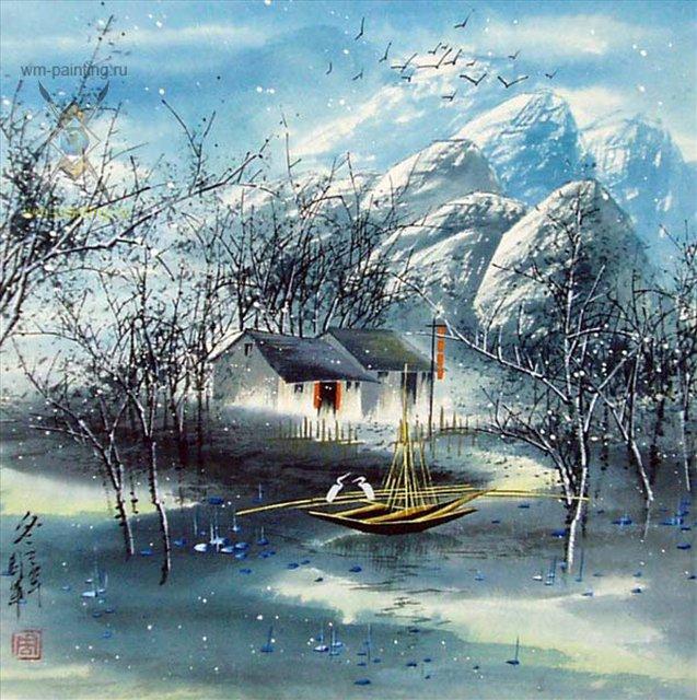 Зимний пейзаж - Китай традиционная живопись Гохуа фото.