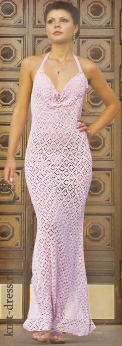 Описание вязания платья.  Платье вяжется сверху...  Платье с открытой спиной и глубоким разрезом.  Прочитать целикомВ.