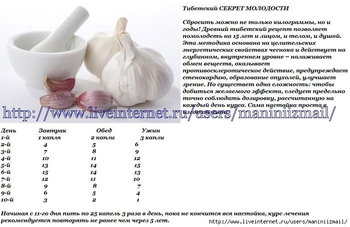 рецепт очищения организма чесноком