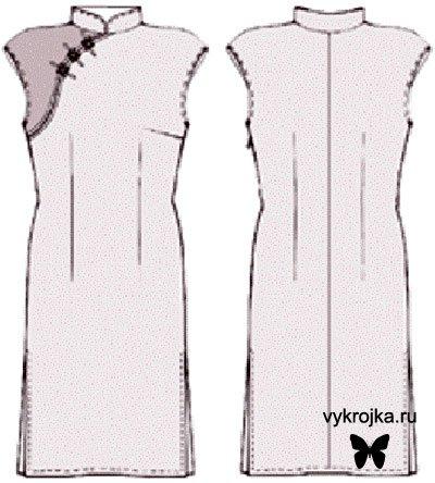 Выкройка платья в китайском стиле. р-р 42-44, рост 158 см. Выкройка распечатывается на обычном формате бумаги (А4)...