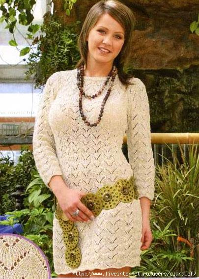 Вязаное спицами платье своими руками