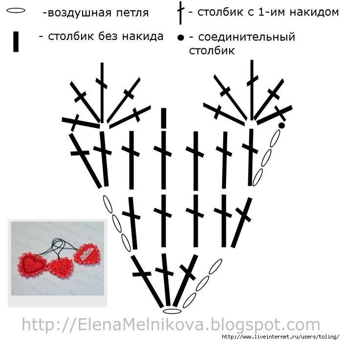Вязание валентинок крючком схемы 10